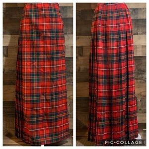 Vintage Tartan Plaid Kilt Wrap Wool Skirt